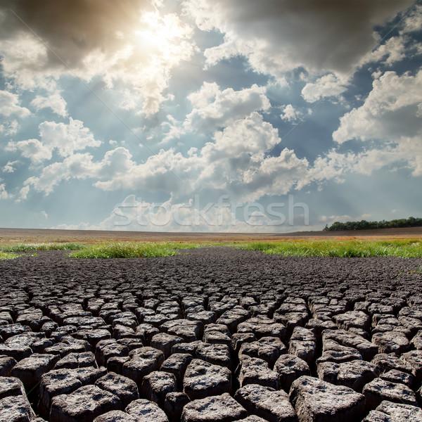 Forró nap aszály Föld égbolt tájkép Stock fotó © mycola