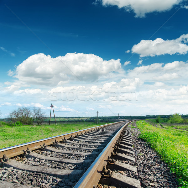 low view to railroad under cloudy sky Stock photo © mycola