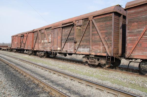 öreg rozsdás vonat út kerék út Stock fotó © mycola