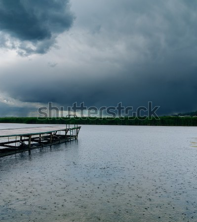 drops of rain on river under dark clouds Stock photo © mycola