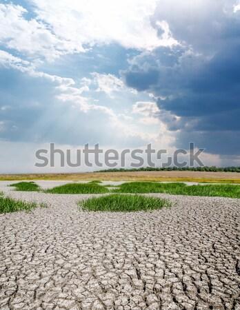 Aszály Föld felhős égbolt globális felmelegedés textúra Stock fotó © mycola