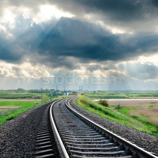 Ferrocarril lluvioso nubes cielo naturaleza paisaje Foto stock © mycola