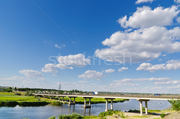 bridge over river and blue sky Stock photo © mycola