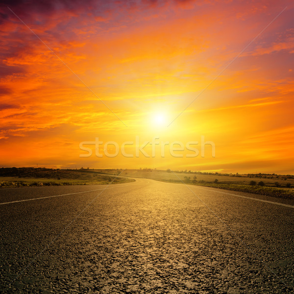 red sunset over road Stock photo © mycola