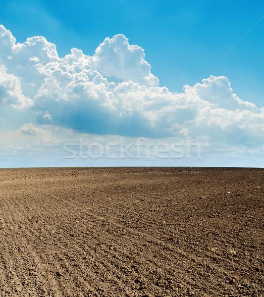 Azul nublado céu preto campo abstrato Foto stock © mycola