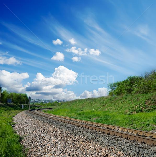Kolej żelazna mętny niebo krajobraz zielone prędkości Zdjęcia stock © mycola