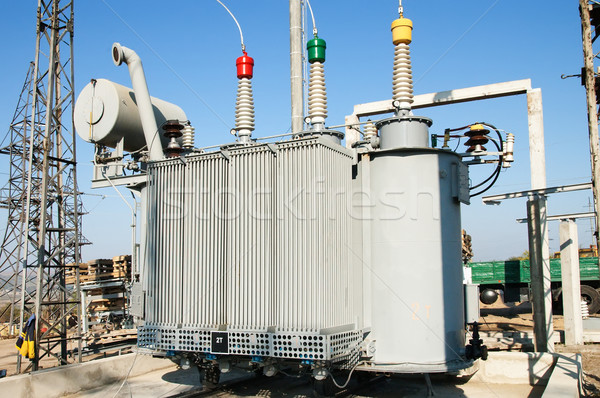 transformer on high power station. High voltage Stock photo © mycola