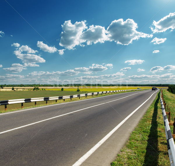 Asfalt yol ufuk bulutlu gökyüzü doğa Stok fotoğraf © mycola