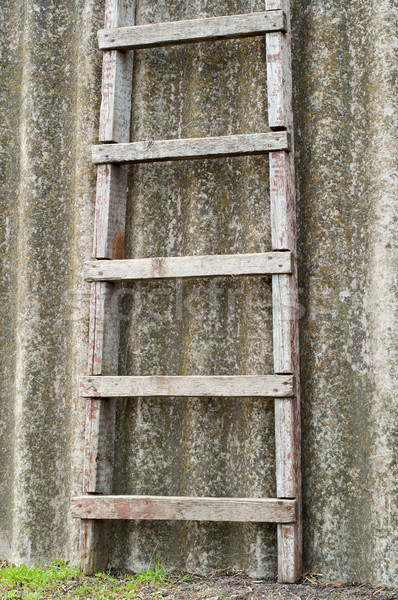wooden ladder near old roofing slate Stock photo © mycola