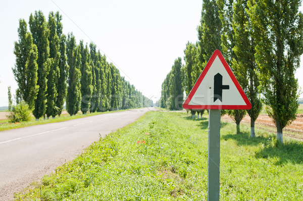 sign in road. focus on sign Stock photo © mycola