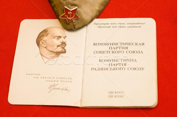 Parti kart kapak kırmızı arka plan imzalamak Stok fotoğraf © mycola
