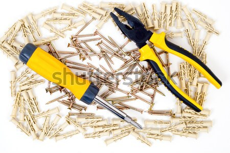 cruciform screwdriver and pliers in screw frame Stock photo © mycola