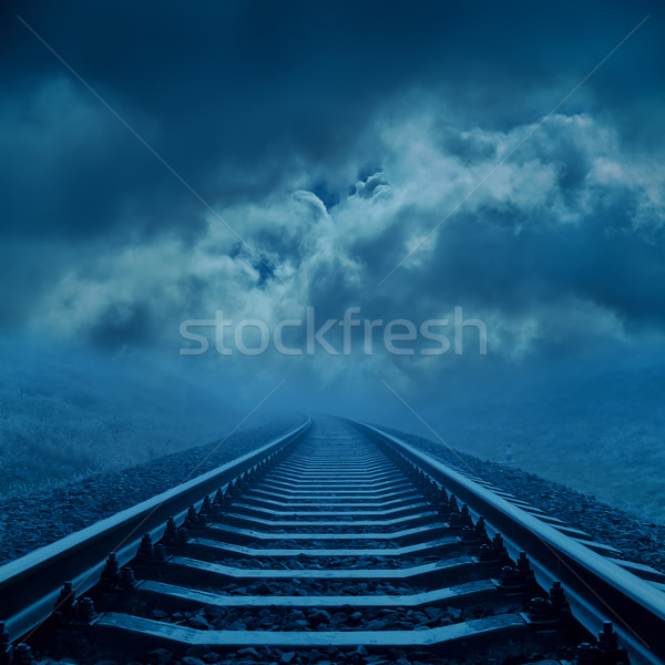 railroad to cloudy horizon in night Stock photo © mycola