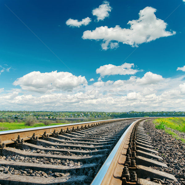Spoorweg bewolkt horizon hemel natuur Stockfoto © mycola