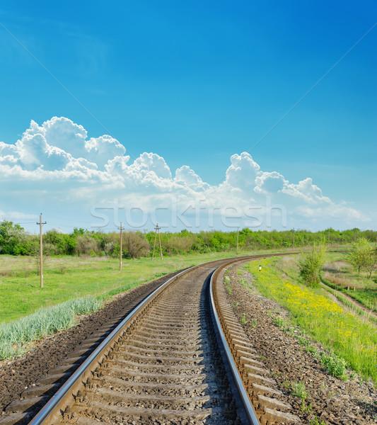 Demiryolu ufuk yeşil manzara gökyüzü arka plan Stok fotoğraf © mycola