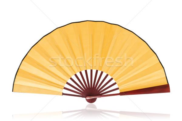китайский вентилятор изолированный белый древесины Сток-фото © myfh88