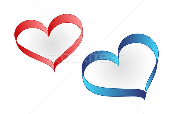 Vektör kalp şerit yalıtılmış beyaz Stok fotoğraf © myfh88