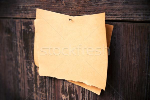 Vecchio carta marrone legno bordo carta muro Foto d'archivio © myfh88