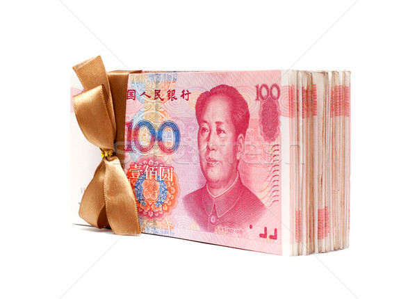 A stack of RMB (Chinese Yuan Note) isolated on white Stock photo © myfh88