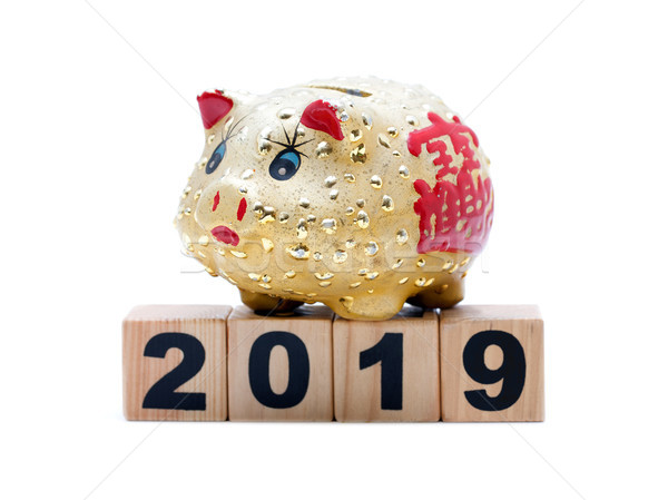 New Year 2019:  piggy bank and building blocks isolated on white background Stock photo © myfh88