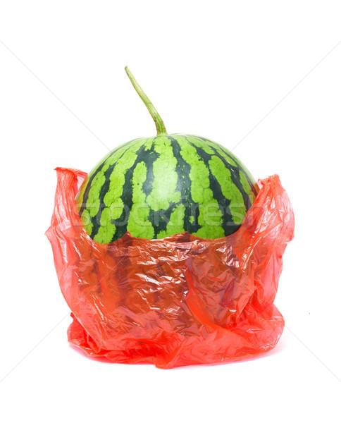 арбуза пластиковых сумку изолированный белый Сток-фото © myfh88