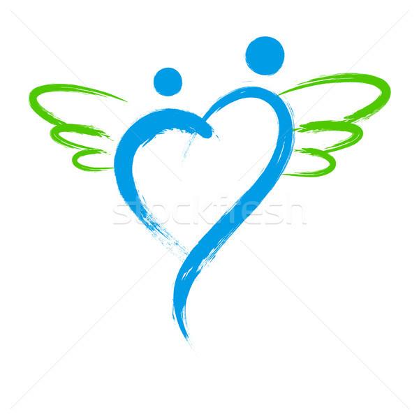 вектора ангела символ формы сердца изолированный белый Сток-фото © myfh88