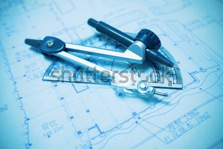 строительство планирования рисунок инструменты бизнеса бумаги Сток-фото © myfh88