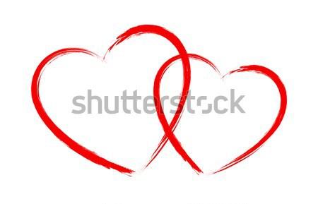 Vektör Kalp şekli çerçeve Fırçalamak Boyama Yalıtılmış