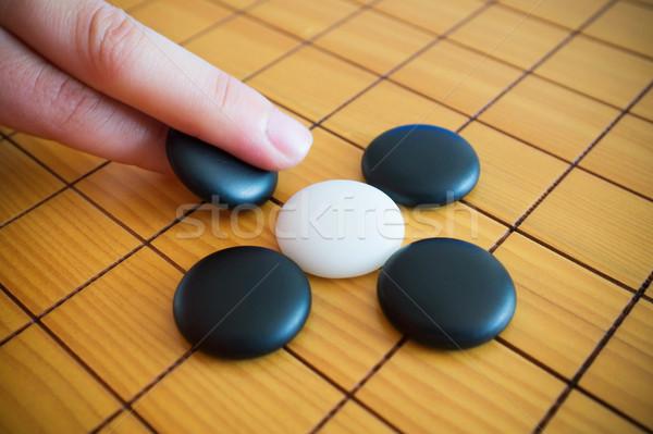 Játék kínai társasjáték kéz háttér űr Stock fotó © myfh88