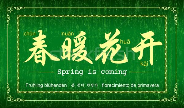 китайский поговорки пословица весны дизайна краской Сток-фото © myfh88