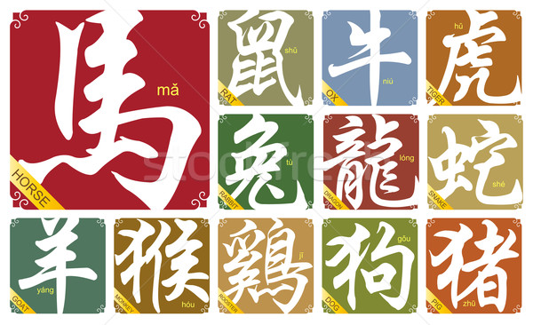 Vector Chinese zodiac signs with the year of the horse Stock photo © myfh88