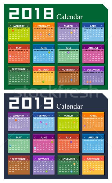 Vector year of 2018 and 2019 calendar background Stock photo © myfh88