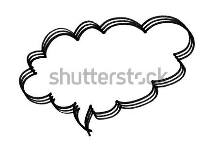 Konuşma balonu fırçalamak yalıtılmış beyaz boya çerçeve Stok fotoğraf © myfh88