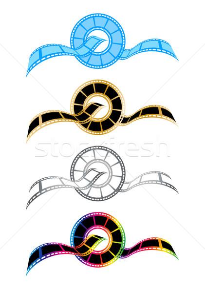 Vektor filmszalag szimbólumok film kék film Stock fotó © myfh88