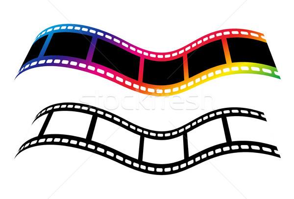 Vektor filmszalag szimbólumok izolált fehér kék Stock fotó © myfh88