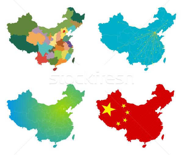вектора Китай карта набор знак путешествия Сток-фото © myfh88