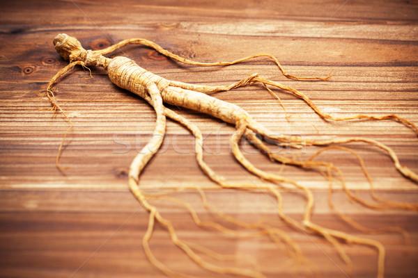 Secar ginseng madeira medicina beber energia Foto stock © myfh88