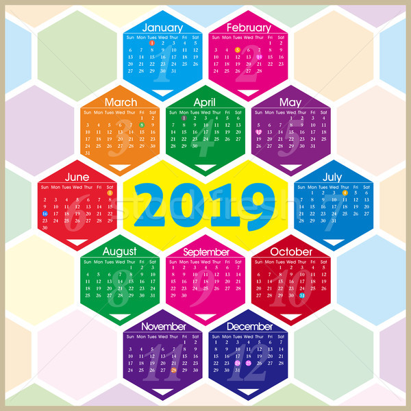 Vector year of 2019 calendar with hexagon pattern Stock photo © myfh88