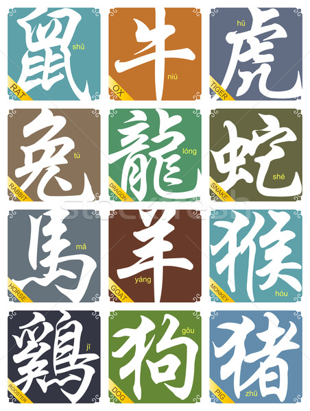 Vector 12 Chinese zodiac signs set Stock photo © myfh88