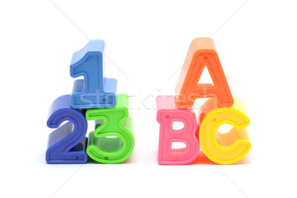 алфавит числа блоки изолированный белый здании Сток-фото © myfh88