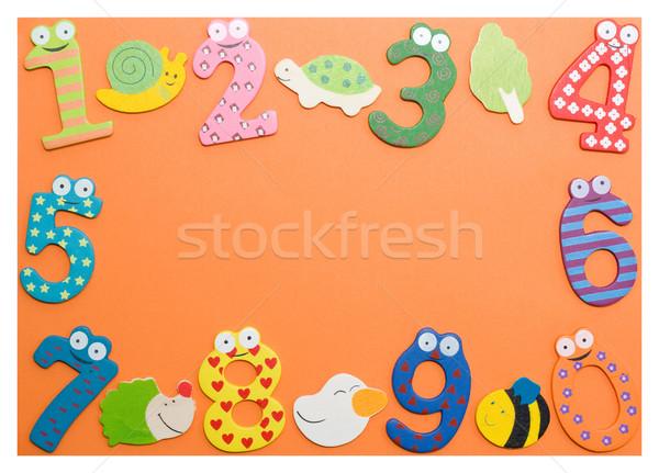 смешные числа ребенка ребенка фон оранжевый Сток-фото © myfh88
