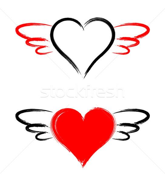 вектора формы сердца крыльями изолированный белый свадьба Сток-фото © myfh88
