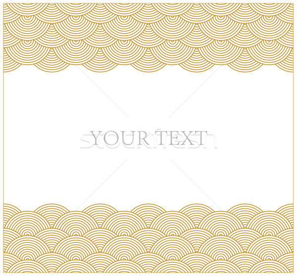 Oriental curve wave pattern frame Stock photo © myfh88