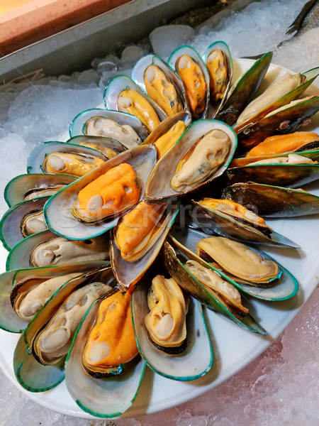 Close up of mussels on white dish (Shellfish) Stock photo © myfh88