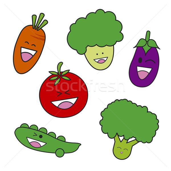Foto stock: Vegetal · desenho · animado · comida · verde · engraçado · tomates