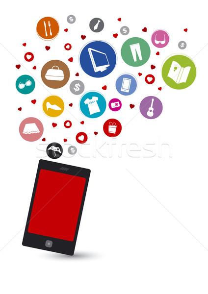 Alışveriş online alışveriş çevrimiçi kitap sevmek telefon Stok fotoğraf © myimagine