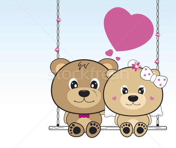 Düğün ayılar oturma salıncak çiçek kalp Stok fotoğraf © myimagine