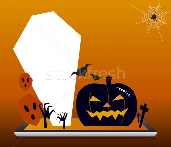 Halloween dizayn arka plan turuncu siyah hayalet Stok fotoğraf © myimagine