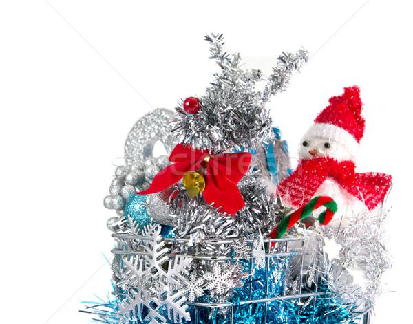 Noel alışveriş sepeti parti arka plan imzalamak mavi Stok fotoğraf © myimagine