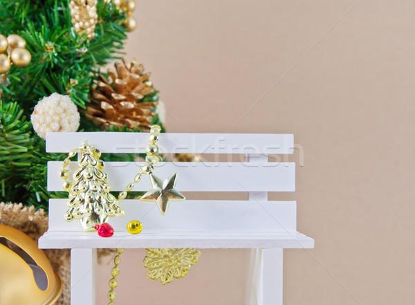 Noel dekorasyon sandalye star kırmızı beyaz Stok fotoğraf © myimagine